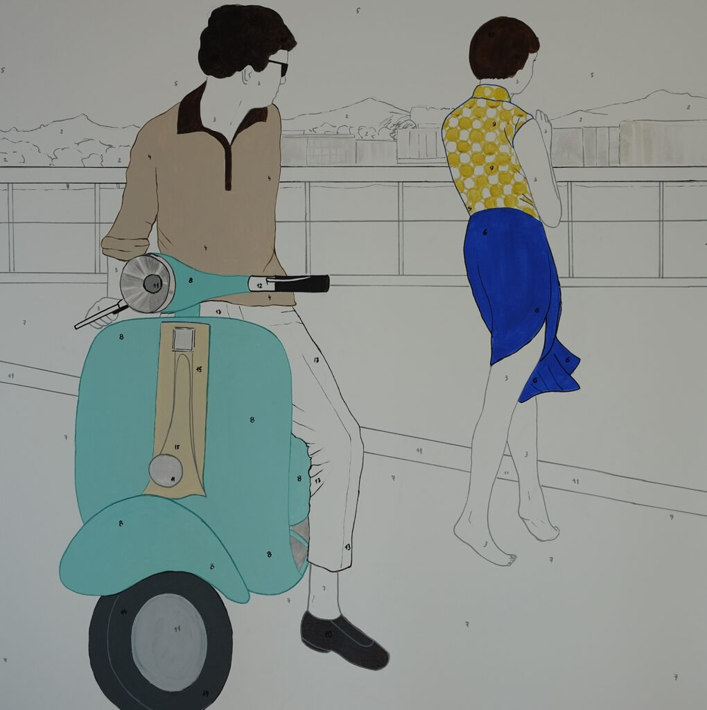 Marta Kochanek-Zbroja, Vespa, 2015, acrylic on canvas, 100 x 100 cm