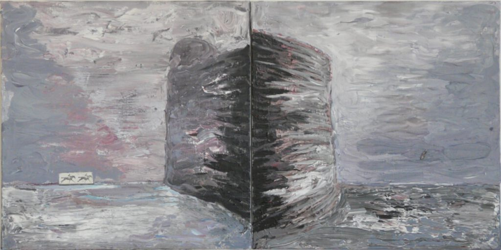Tomasz Vetulani, The Fortress I i II, 2015, acrylic on canvas, 141 x 70 cm