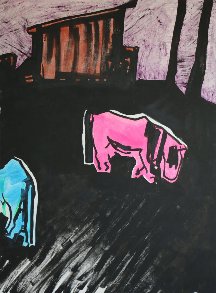 Magda Kościsz, Ponies 1, 2014, tempera acrylic marker on canvas, 200 x 150 cm